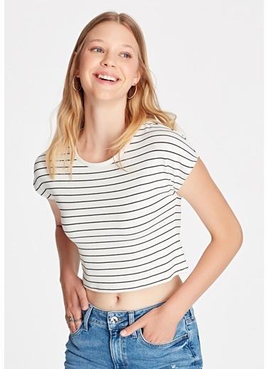 Mavi Kadın  Çizgili Crop Tişört 168382-28945 Beyaz